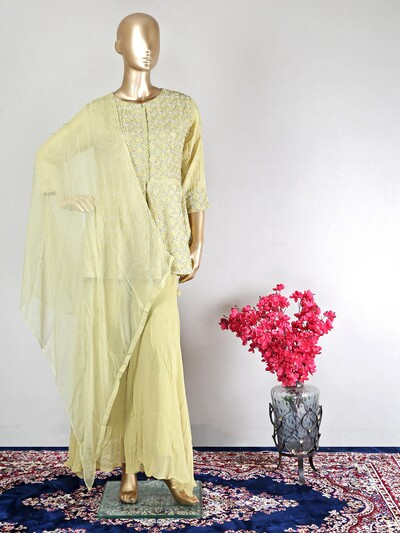 Green silk wedding wear palazzo suit