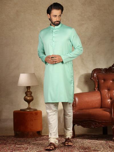 Green solid cotton fabric mens kurta suit