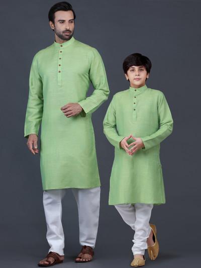 Green solid cotton father-son kurta suit festive wear