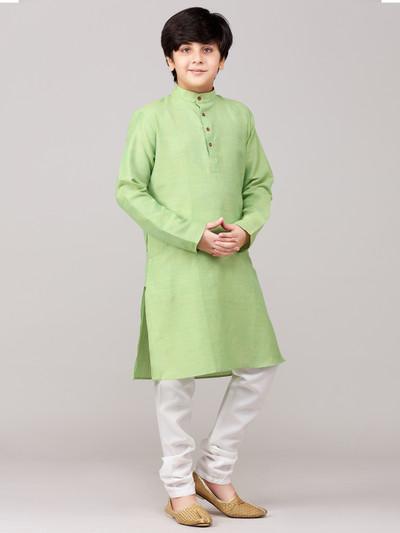 Green solid cotton kurta suit festive wear