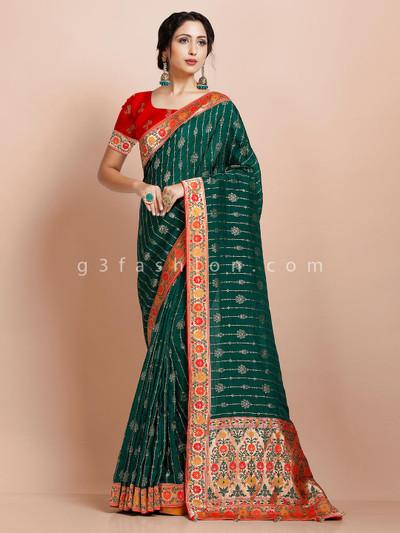 Green traditional muga silk sari for festive