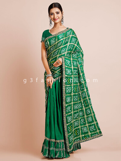 Green wedding wear bandhej saree for women