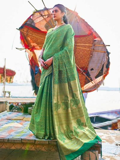 Green wedding wear handloom saree