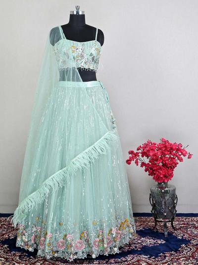 Green wedding wear net lehenga choli for womens