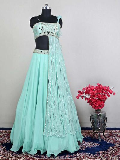 Green wedding wear raw silk lehenga for womens