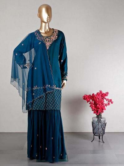 Green wedding wear salwar suit in cotton silk
