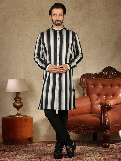Grey and black cotton silk stand collar kurta suit