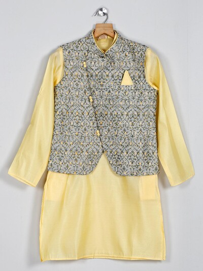 Grey and yellow cotton silk waistcoat set