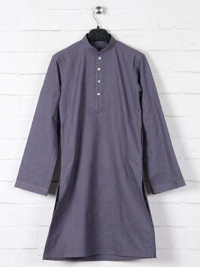 Grey boys kurta suit in cotton