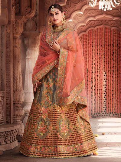 Grey bridal designer semi stitched lehenga choli for wediding