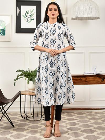 White casual wear womens printed kurti
