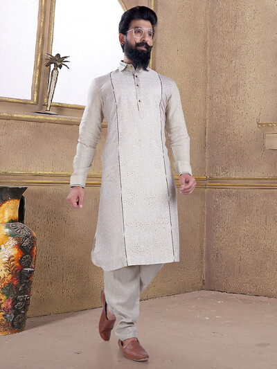 Grey color cotton silk pathani suit