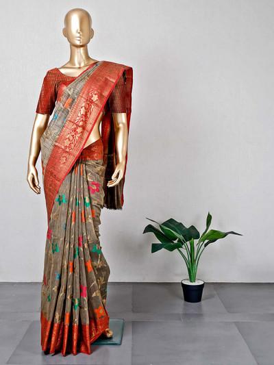 Grey cotton festive wear sari for women