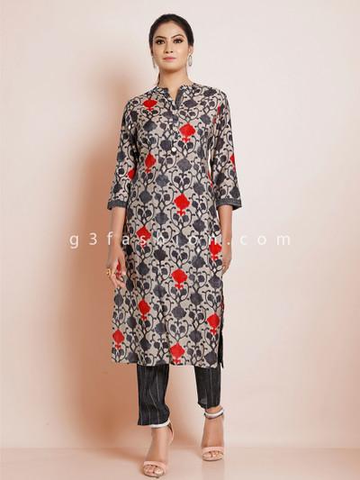 Grey cotton printed festive wear punjabi style pant suit