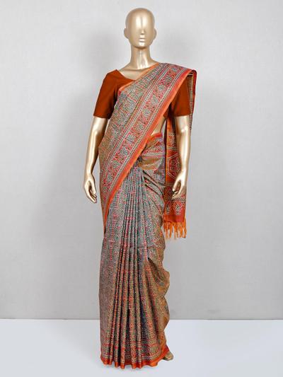 Grey cotton saree for women