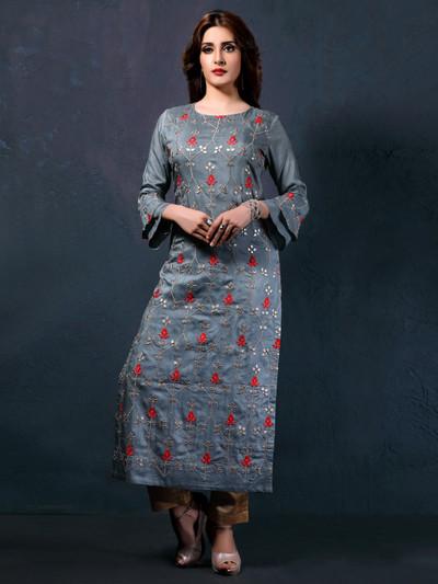 Grey cotton silk quarter sleeves kurti