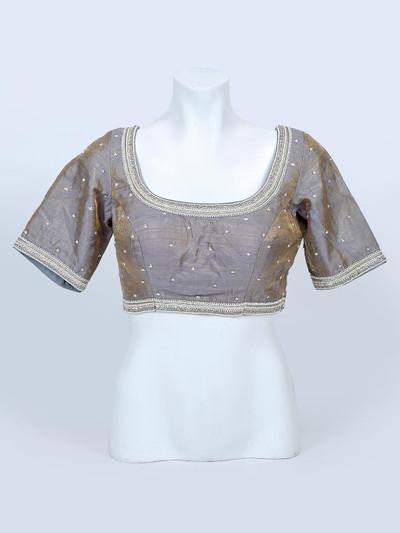 Grey designer raw silk ready made blouse