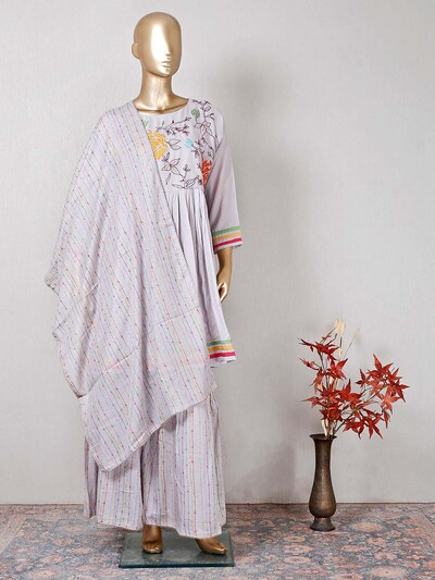 Grey designer wedding wear cotton salwar kameez