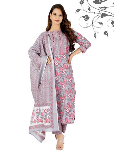 Grey festive sessions printed punjabi style cotton pant suit