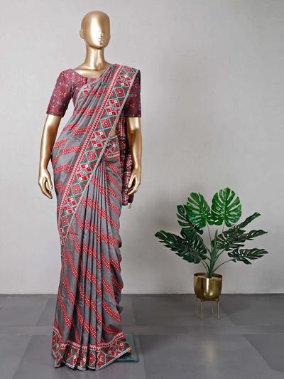 Grey festive wear cotton saree for women