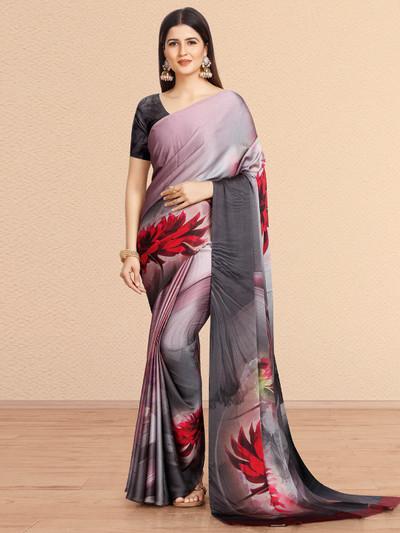 Grey festive wear crepe saree