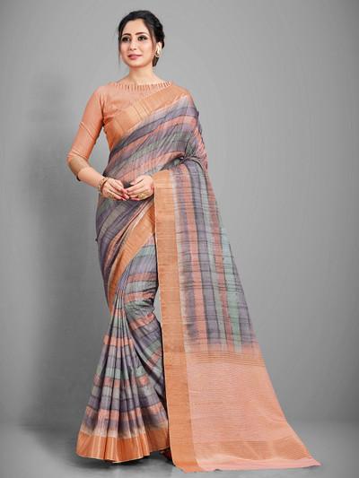 Grey handloom cotton festive wear saree for women