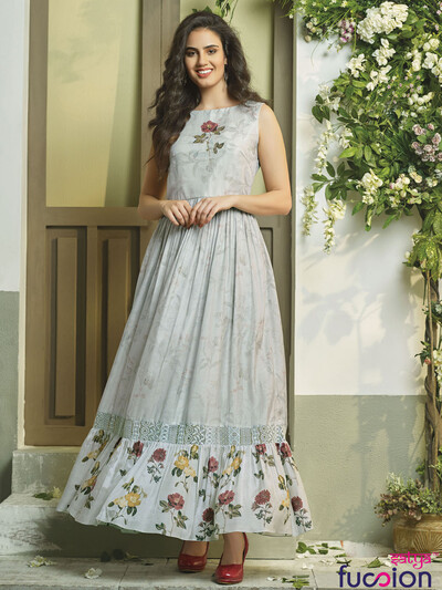 Grey hue cotton printed kurti