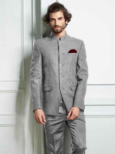 Grey hue solid jodhpuri suit party wear
