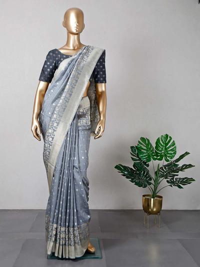 Grey muga silk saree for festivals