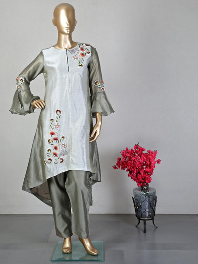 Grey pant style salwar suit for women