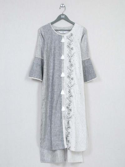 Grey printed cotton casual kurti for women
