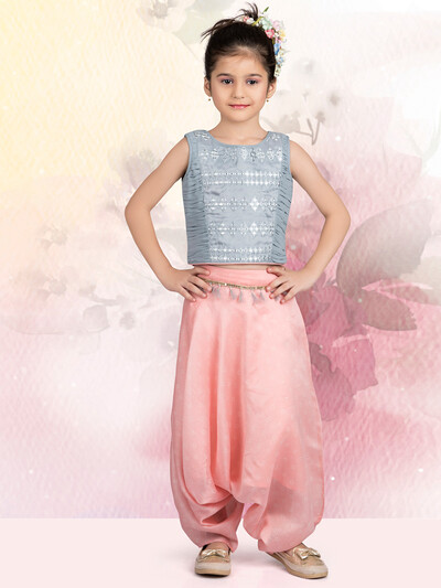 Grey printed dhoti style suit for girls in cotton silk