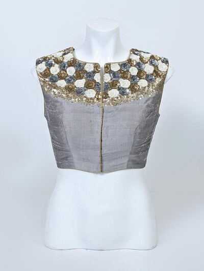 Grey raw silk designer readymade blouse