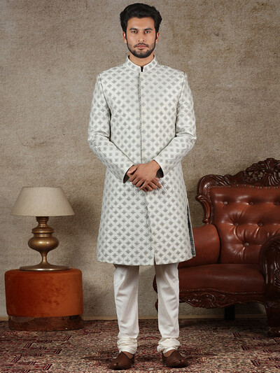 Grey raw silk fabric sherwani for wedding