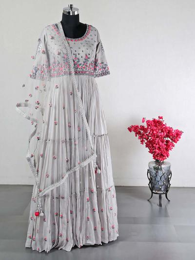 Grey raw silk reception wear suit for women