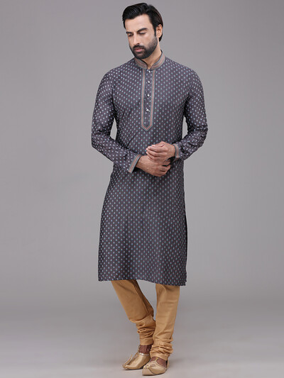 Grey silk festive wear printed kurta suit