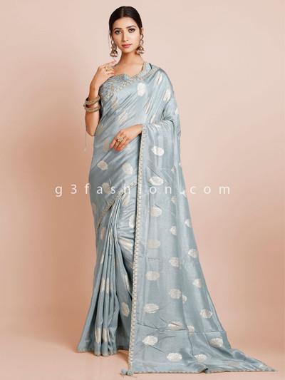 Grey silk wedding wear saree with ready made blouse