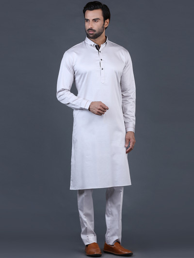 Grey solid cotton pathani suit