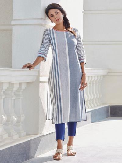 Grey stripe kurti design in cotton
