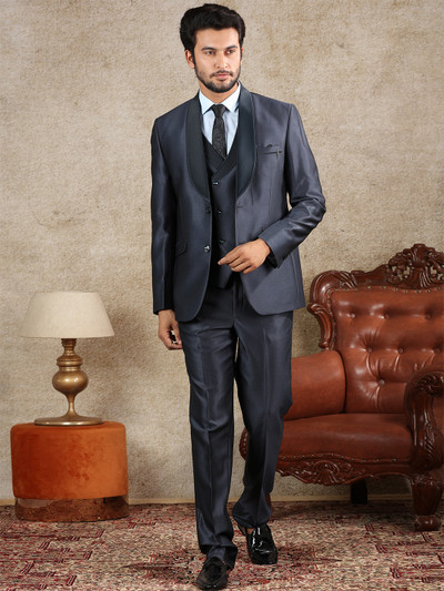 Grey terry rayon mens coat suit