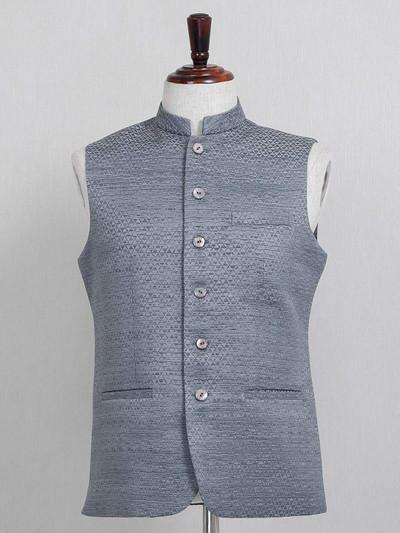 Grey textured party wear cotton silk waistcoat