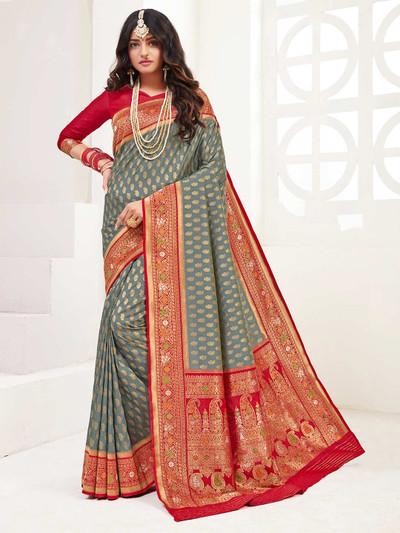 Grey wedding session saree in banarasi silk