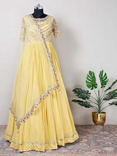 Grogeous reception wear yellow net anarkali suit