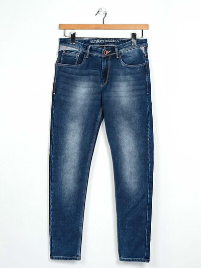 GS78 blue slim fit washed jeans