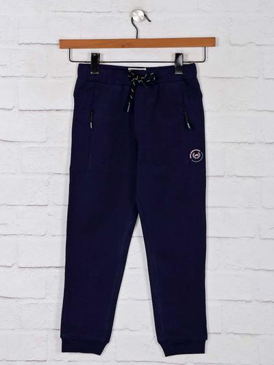 Gusto solid navy cotton payjama