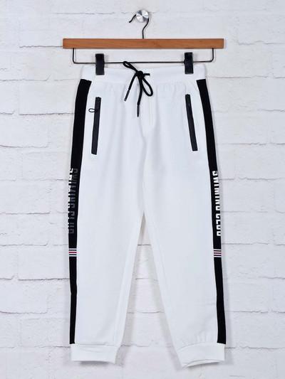 Gusto solid white cotton payjama for boys