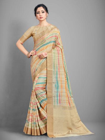 handloom cotton beige saree for women