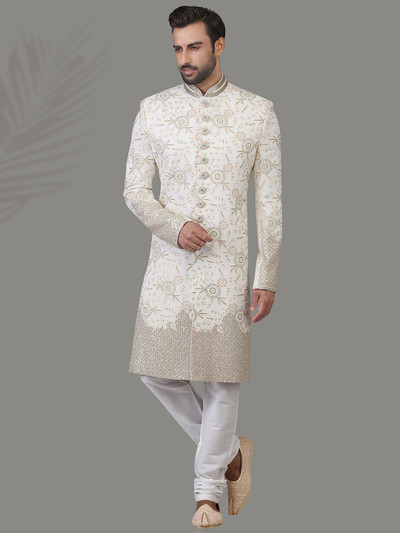Heavy embroidered white silk sherwani