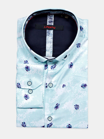 I Party blue color printed pattern shirt