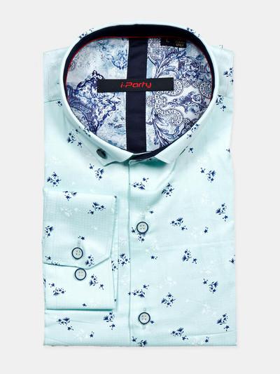 I Party blue cotton shirt for mens